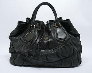 a2c91f62a713 Prada Softest Leather Black Ruched Gaufre Tote-Ex Condition-BN1237 ...