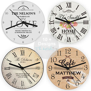 Image is loading Personalised-Kitchen-Wall-Clock-Birthday-Housewarming-Gift -Idea-