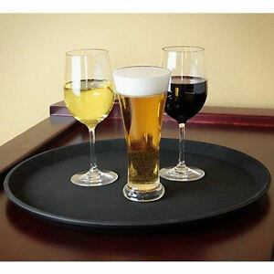 6ad2494e34ac Details about 12 x 16 in Non Slip Serving Tray Black Drinks Trays Waiters  Round Tray Food Bar
