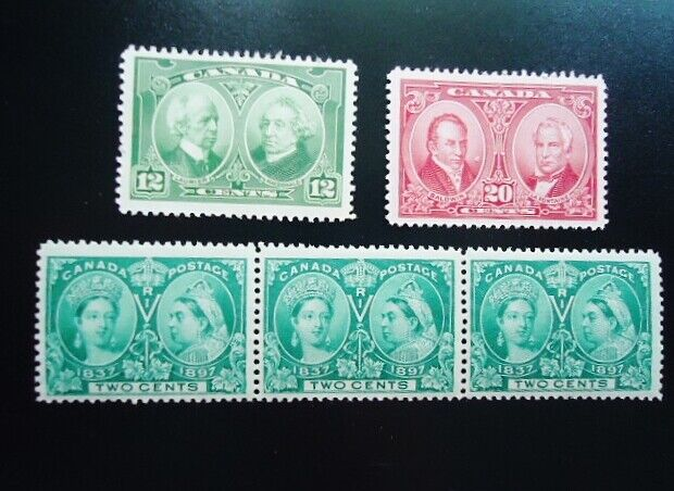 #32 - 5 CANADIAN  STAMPS -QUEEN VICTORIA JUBILEE - MINT NEVER USED OR HINGED