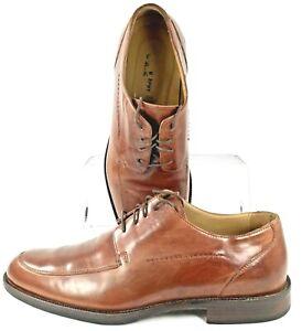 Johnston Murphy Burks Oxfords Men's 10.5 M Brown Leather Apron Toe Lace Up Shoes