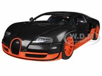 Bugatti Veyron Super Sport Carbon Fiber Black/orange 1/18 By Autoart 70936