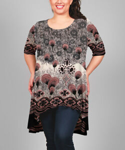 Simply-Aster-ladies-tunic-top-plus-size-US-2X-UK-14-16-abstract-floral-stretch