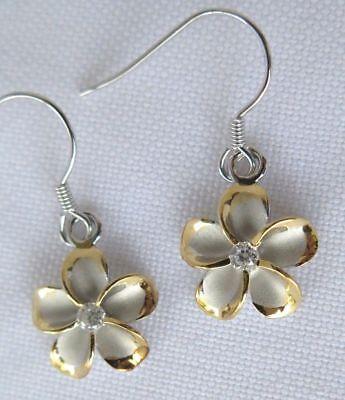 Hawaiian Jewelry 925k Sterling Silver Plumeria Hawaii Flowers Dangle Earrings Ebay