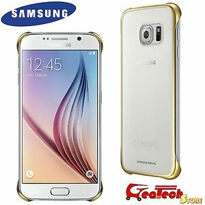 ed2a3927f8 NEW Samsung Galaxy S6 Edge Clear Cover Case Gold - EF-QG925BFE | eBay
