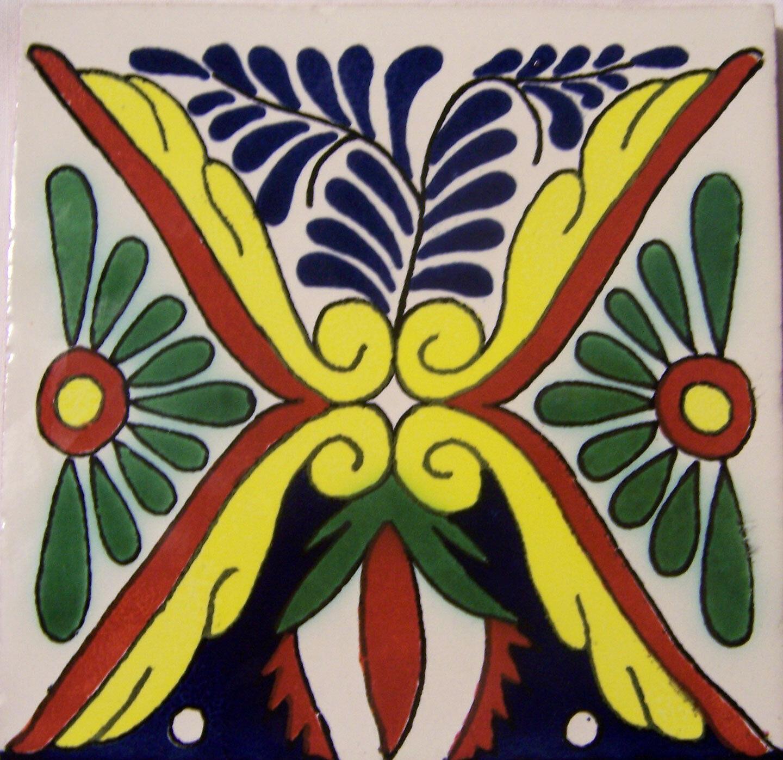 C272- Mexican Handmade Talavera Clay Tile Folk Art 4x4