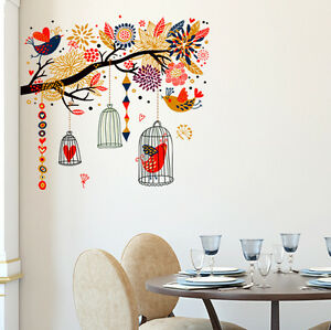 6900063 | Wall Stickers Branch with Colourful Decorative Elements Birds