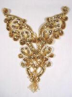 0035 Gold Pearl Yoke Beaded Sequin Applique Bodice 8.5 Sewing Crafts Motif :)