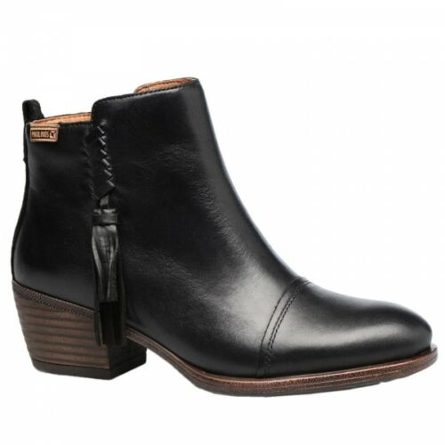 Pikolinos BAQUEIRA Ladies Womens Real Leather Heeled Winter Ankle Boots Black
