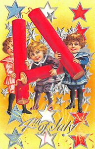 Details About 4th Of July Children Playing Fire Crackers Postcard