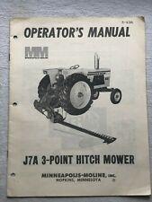 Minneapolis Moline Operators Manaul J7a 3 Point Hitch Mower