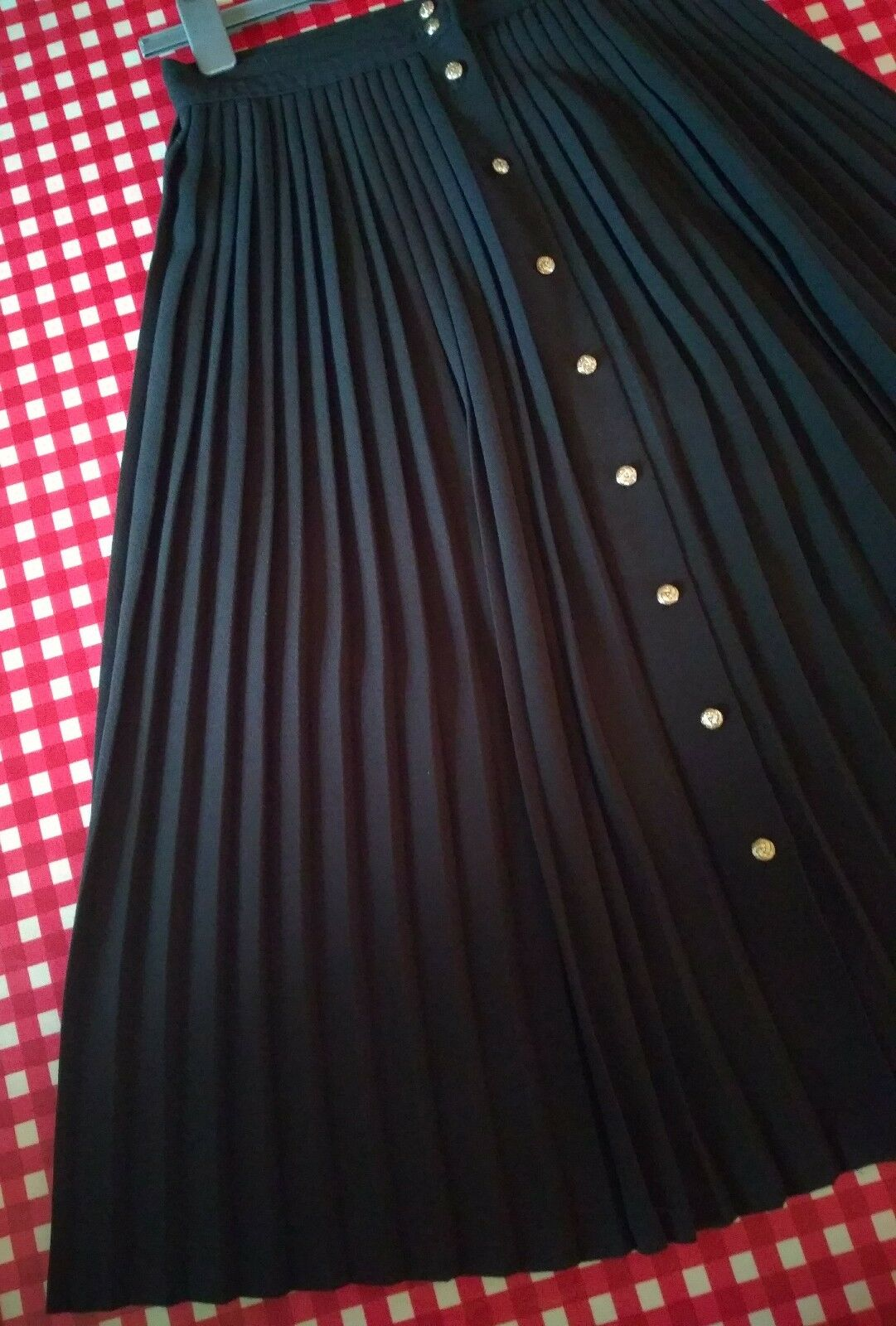 M&S vintage 80s 90s black pleated heavy button down skirt UK 12 quality A/W VGC