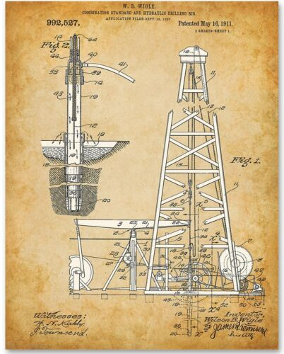 Petroleum Business Spindletop Oil Drilling Rig 11x14 Unframed Patent Print
