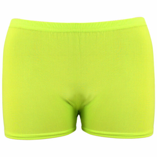 Girls Children Neon Stretchy Hot Pants Short Dance Gym Age 5-12yrs Yellow Colour