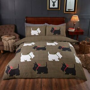Duvet-Cover-Set-Single-Cotton-Bed-Set-Hamish-Tartan-Dog-Reversible-Bedding-Set