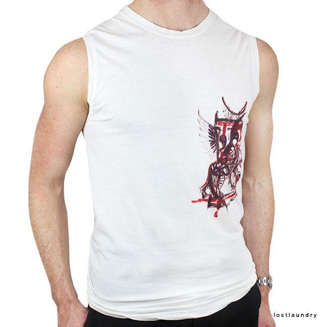 Balmain Paris White Cotton Eagle Tiger Paint Effect Print Vest Tank Top S IT46