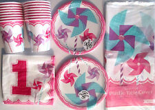 TURNING 1 GIRL Pinwheel -1st Birthday Party Supply Set Pack Kit for 16