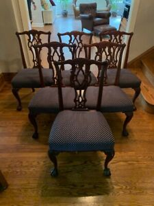 Details about Vintage Chippendale Rococo Style Dining Room Chairs Set of  SIX Navy Cushions