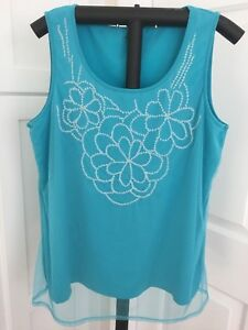 Coldwater-Creek-Women-039-s-Sleeveless-Beaded-Top-Shirt-Blouse-Size-Large-14-Aqua
