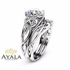 14K White Gold Unique Engagement Rings 2 Carat Diamond Ring Engagement Ring Set