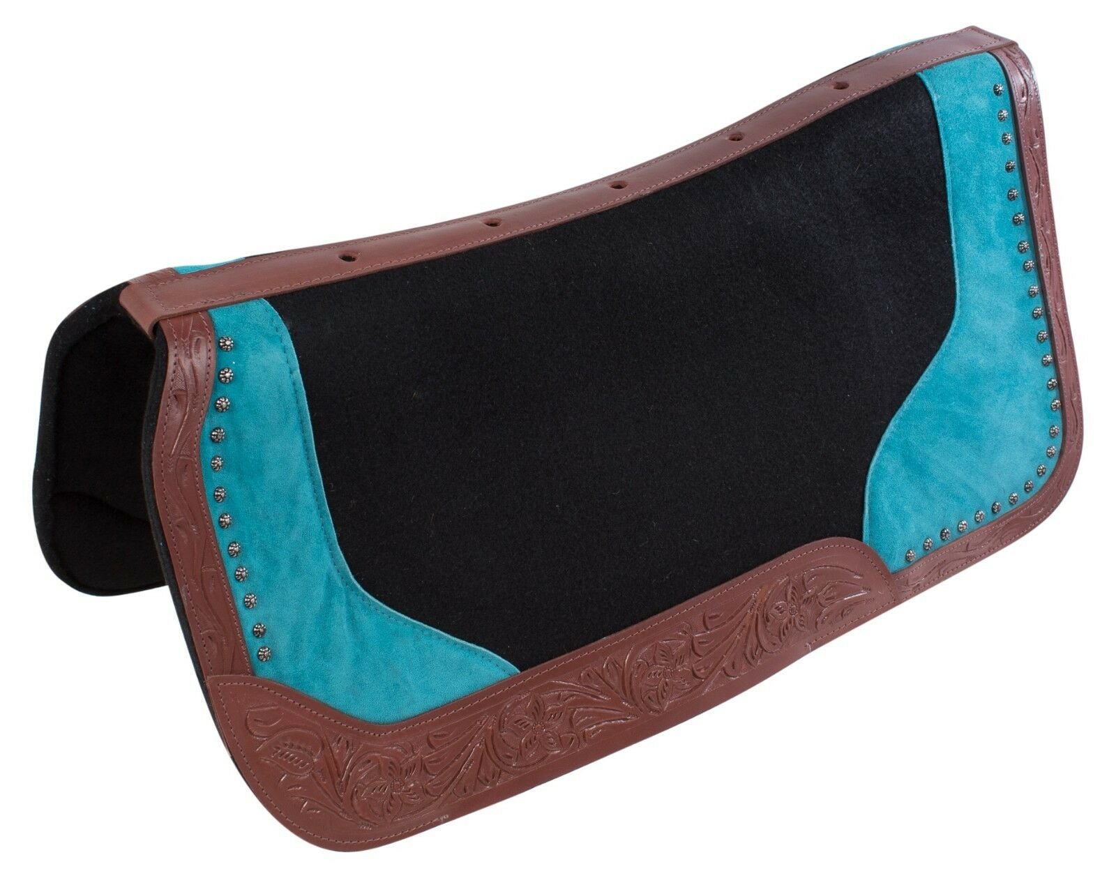 NEW VENTILATED blueE  WESTERN SADDLE PAD GEL INFUSED WOOL FELT NON SLIP BLANKET  cheap in high quality