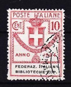 Italien-Mi-Nr-34-gest-Porto-Marke-Biblioteche-Popolari-1924-used