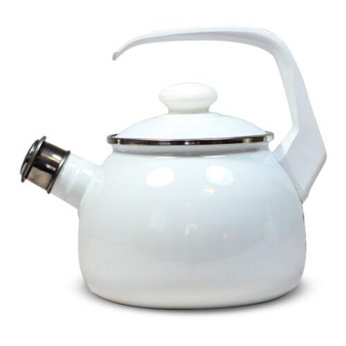 Wasserkessel mit Pfeife Komfort emailliert 2,5L Pfeiffkessel Geschirr Tee Kaffee