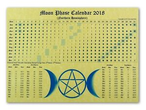 Details about MOON PHASE LUNAR CALENDAR 2018 parchment poster wicca pagan  spell astrology BOS