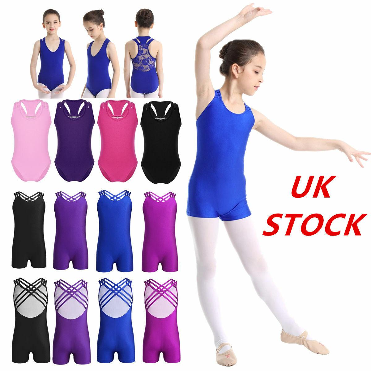 UK Girls Gymnastic Ballet Leotards Bodysuits Dancewear Stretchy Unitards Costume