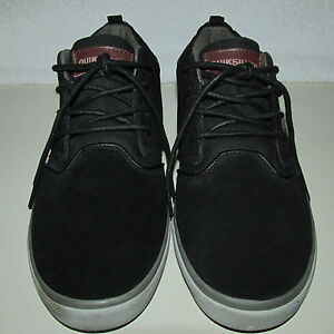 Quiksilver-Griffin-Black-Gray-Suede-Leather-Canvas-Mid-Top-Casual-Shoes-SZ-11-5