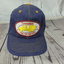 VTG Thompson Hot Oil Service Patch Denim Trucker Baseball Hat Blue Snapback USA
