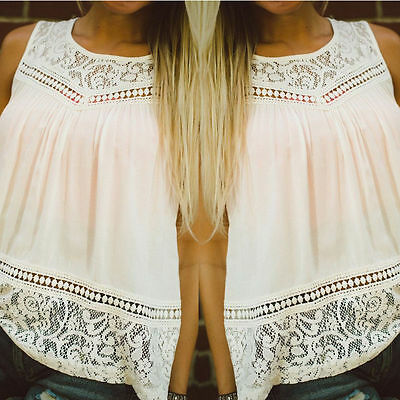 Summer Lady Women Vest Top Sleeveless Blouse Casual Tank Tops T-Shirt Lace EA