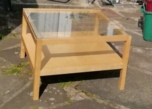 Large Square Solid Wood Coffee Table With Glass Top And Wooden