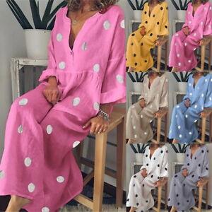 Boho-Women-039-s-Summer-Holiday-Polka-Dot-Maxi-Dress-Long-Sleeve-V-Neck-Dresses