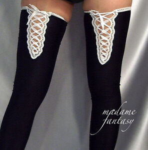 LACE UP TOP OPAQUE SPANDEX STOCKINGS BLACK XS-XXXL Tall