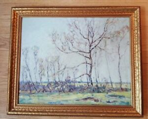 NICE-Signed-Framed-Oil-on-Board-Franklin-Bennett-1908-2005-Bare-Trees-Spring