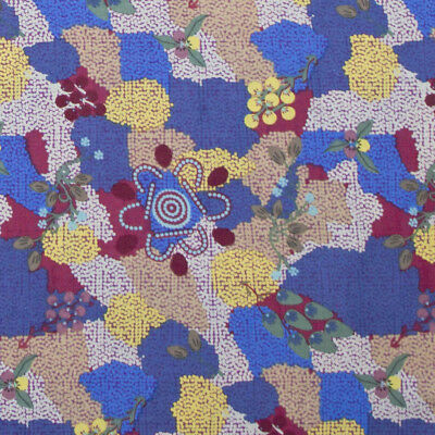 Australian Aboriginal Artist Quilting Fabric Salt Plain Red Patchwork Sewing FQ