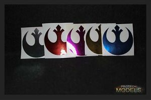 Two Star Wars Rebel Insignia Decal 3 sizes and Various Chrome colours available