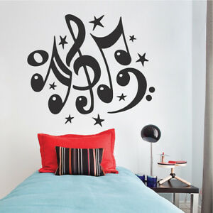 Details About Music Note Wall Decal Wallpaper Treble B Clef Stars Removable Design Art B22