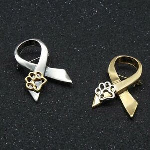 Gold-Silver-Paw-Print-Animal-Cruelty-Awareness-Ribbon-Brooch-Pin-Cat-Dog-Pins