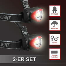 2er Spar Set COB Stirnlampe | LED Kopflampe Stirnleuchte 150lm Wetterfest 4 Modi