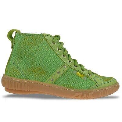 Giga Shoes Leder Knöchelschuh Schnürer, Grün, Used Look, Gr. 31