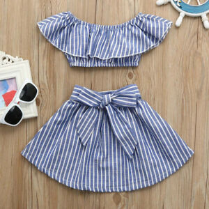 Confident Toddler Kids Baby Girl Outfits Clothes Ruffles Vest T-shirt Tops+short Skirt Set Clothing, Shoes & Accessories