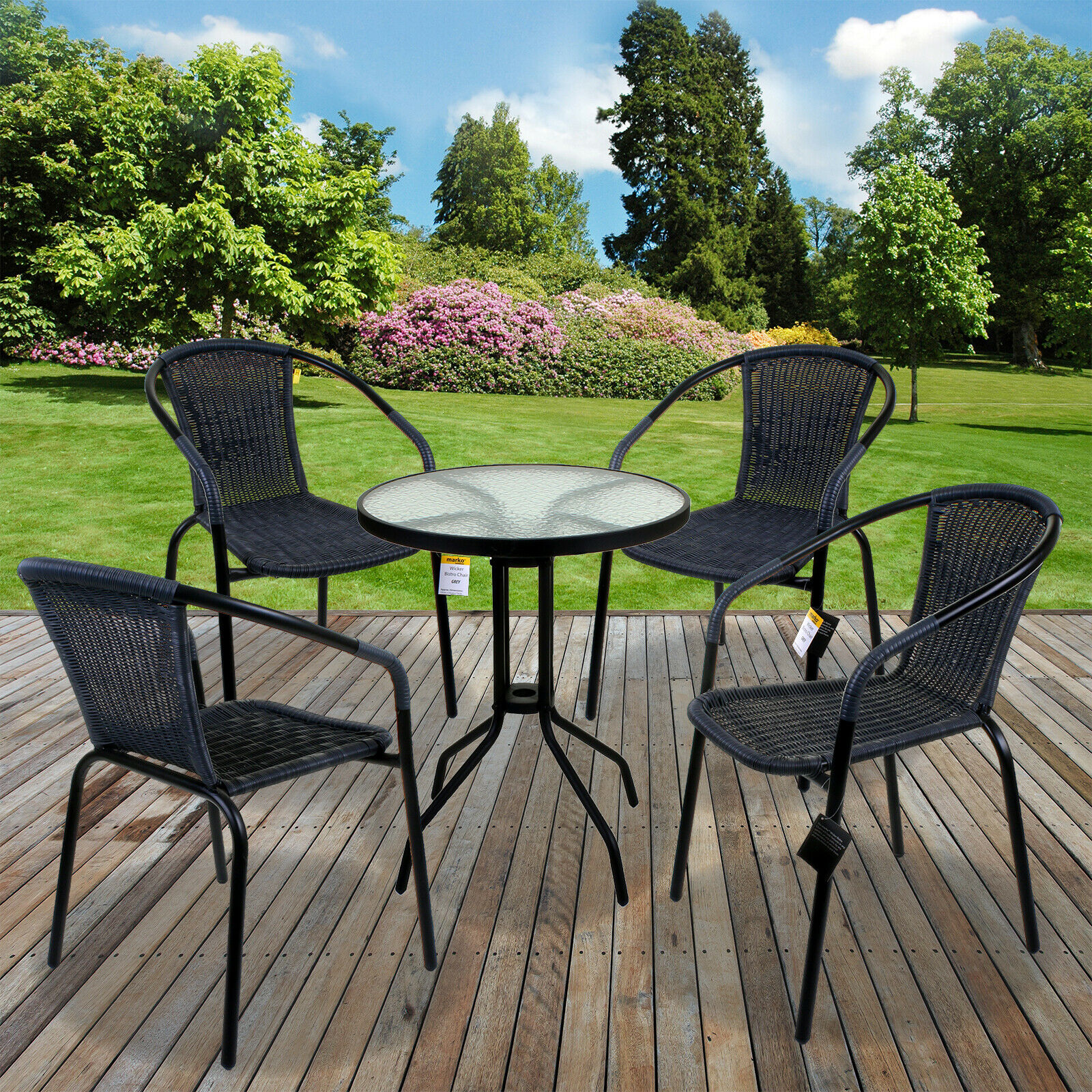 10PC 10PC GREY WICKER PP RATTAN BISTRO CHAIR AND TABLE SET OUTDOOR GARDEN  PATIO