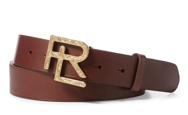 Ralph Lauren Purple Label Engraved Gold RL Buckle Vachetta Leather Belt Brown