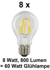 8 x 8 Watt FILAMENT / FADEN-LED Birne E27, Klarglas Warmweiß ~60 Watt Glühbirne