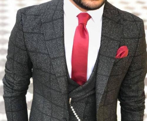 Ontwerper 44 heren getailleerde Business zwarte Grijze geruite taille broek colbertjas XOkwZTiPu