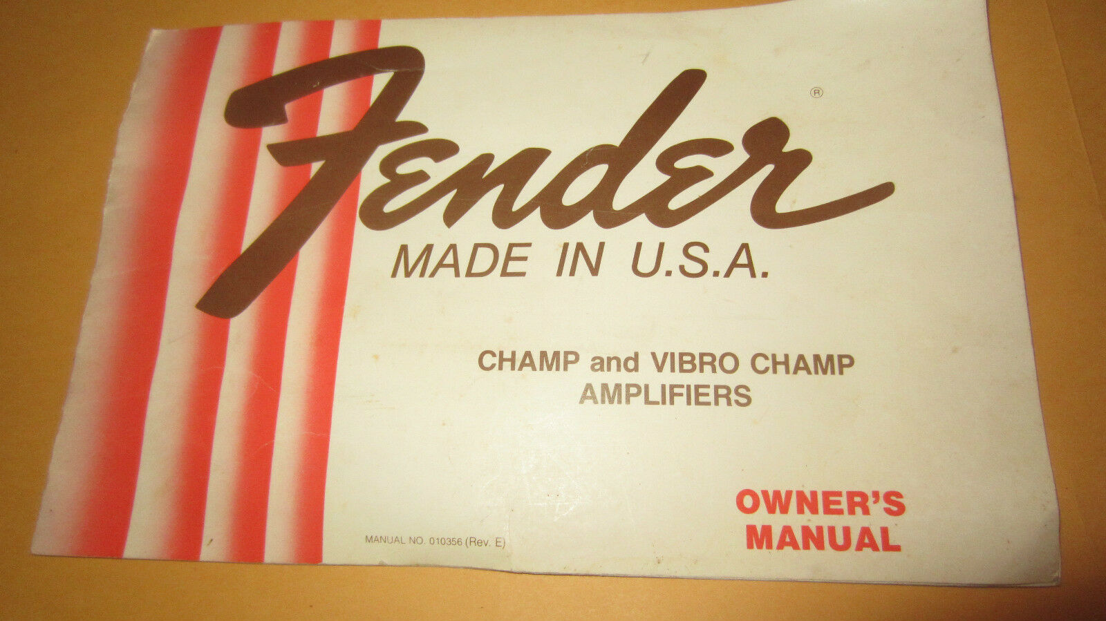 Vintage 1979 Fender Champ Vibro-Champ Guitar Amplifier Owners Manual Collectors