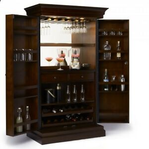 Home Bar Cabinet Large Liquor Pub Wine Rack Organizer Storage Cherry ...