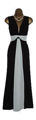Long Black/Cream Grecian Knot Panel Maxi Evening Party Dress Sze 10-26 Prom-Ball